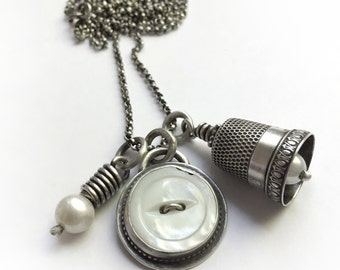 Antique Sterling Thimble Bell Thimbell Pearl Bezel Set Mother Of Pearl Button Sewing Quilting Long Charm Necklace Upcycled
