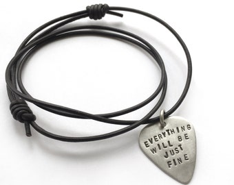 Sterling Silver Guitar Pick Necklace Custom Stamped Phrase Leather Cord Musician Guitar Player Music Inspiration