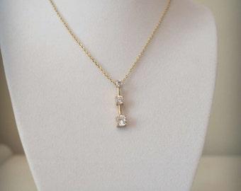 Gold Necklace, Crystal Pendant, CZ Pendant Necklace, Vintage Necklace, CZ Necklace, Goldstone Pendant, Vintage Pendant, 1970's Necklace