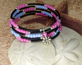 Pink and Blue Memory Wire Bracelet