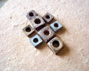 Rusted Old Oxidized Square Metal Nuts with Holes Found Objects Supplies for Assemblage, Altered Art , Sculpture - Industrial Salvage