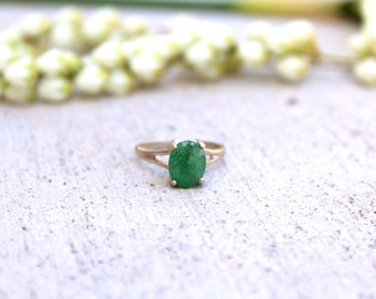 Natural Emerald Oval Sterling Silver Ring Size 7