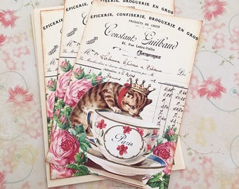 French Kitten in a Teacup Notecards - Paris Teacup Flat Notes, Roses - Cat with Crown Notecards - Set of 3 Notes