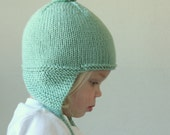 Knit Baby Earflap Hat - Merino Wool Pixie Hat - Newborn Knit Hat - Pompom Earflap Knit Hat - Childrens Earflap Knit Hat - Choose Your Color