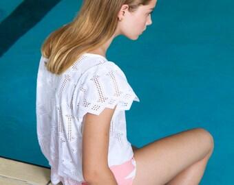 NEW White Lace Blouse. Geometrical Eyelet Lace White Top. White Summer Fashion Blouse. Amelia Blouse SS16