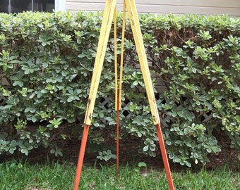 Free Shipping Industrial Metal  Surveyors Tripod Survey tool Nice Rustic Vintage collapsible  Orange Yellow