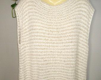 Sleeveless Pullover PLUS size - Tank Top - Cotton, Linen Blend - Textured