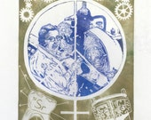 Ursula Franklin Linocut Portrait Physicist Metallurgist Advocate for Peace, Women and Social Justice - Lino Block Print Women in Science