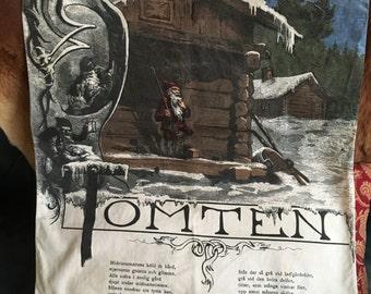 Amazing old European Tomten canvas banner
