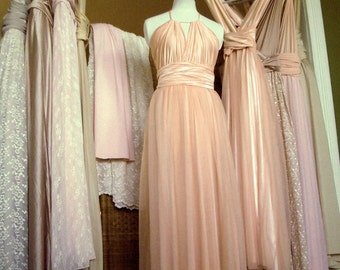 Upscale Mismatched Multiway Bridesmaids Dresses Any SIze/Length EVERY Convertible Dress Tailored! Blush Dusty Blue Rose Nude Lavender Sage
