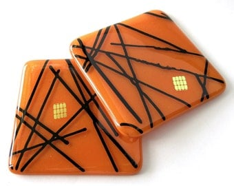 Fused Glass Coasters -Tiger Orange -  Vibrant Abstract Tangerine Colored  Glass Coasters