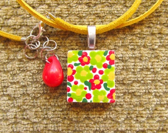 Handpainted Floral Scrabble Tile Pendant