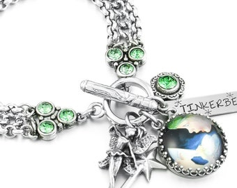 Fairy Bracelet with Peter Pan and Silver Fairy Charm
