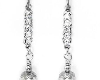Crystal Drop Earrings, Quartz Earrings, Rainbow Quartz Jewelry, Dangle Earrings