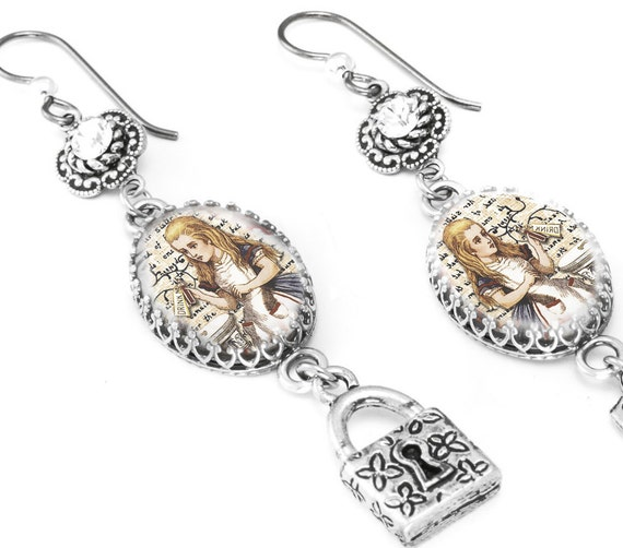 Charm Crystals Earrings, Alice in Wonderland Jewelry, Vintage Image Photo Glass Drop Earrings, Dangle Earrings