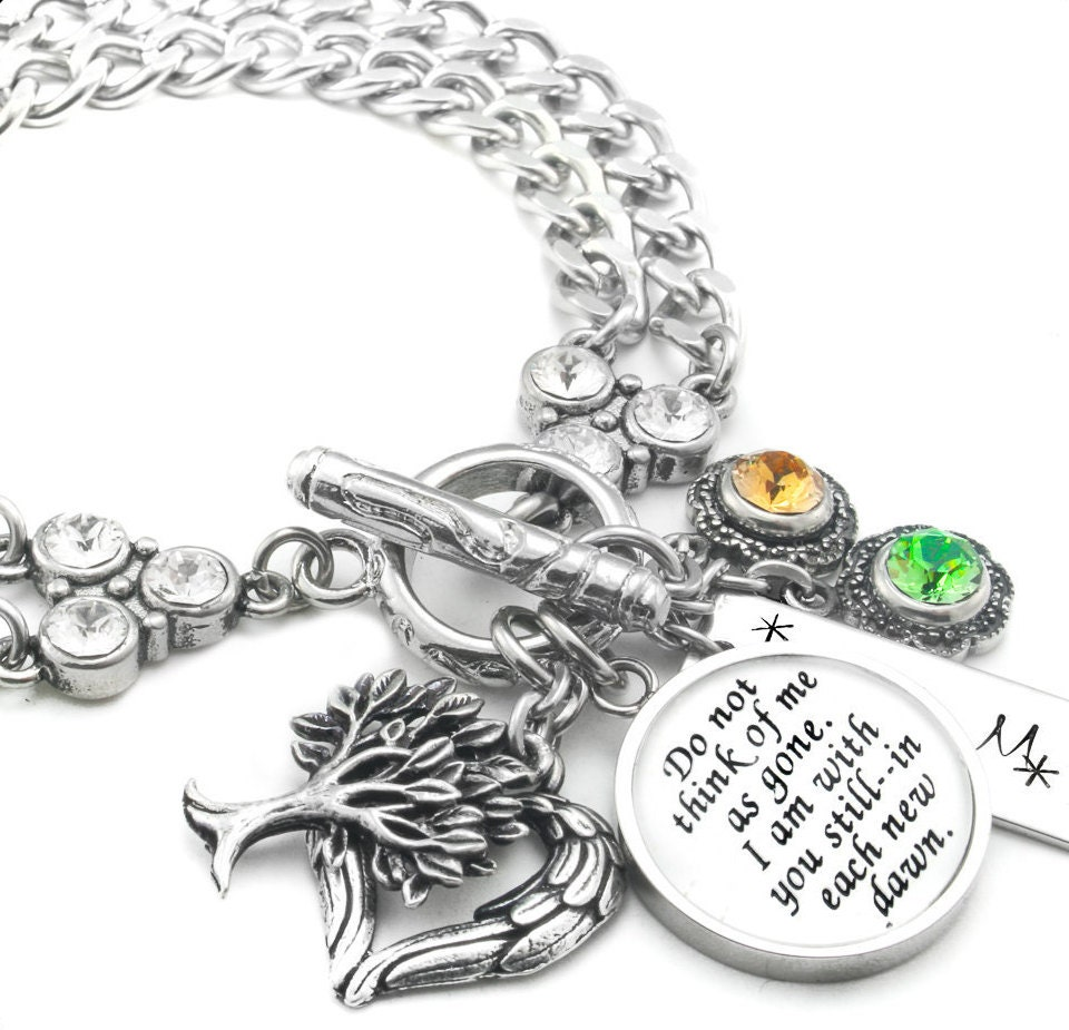 Memory Charm Bracelets: Memorial Bracelet Personalized Memory Jewelry Memorial Quote