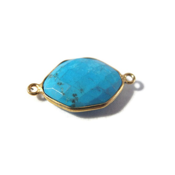 One Turquoise Pendant, Gold Plated Double Loop Bezel, Gemstone Charm, Hexagon Shape, 25mm x 14mm (C-Tq1e)