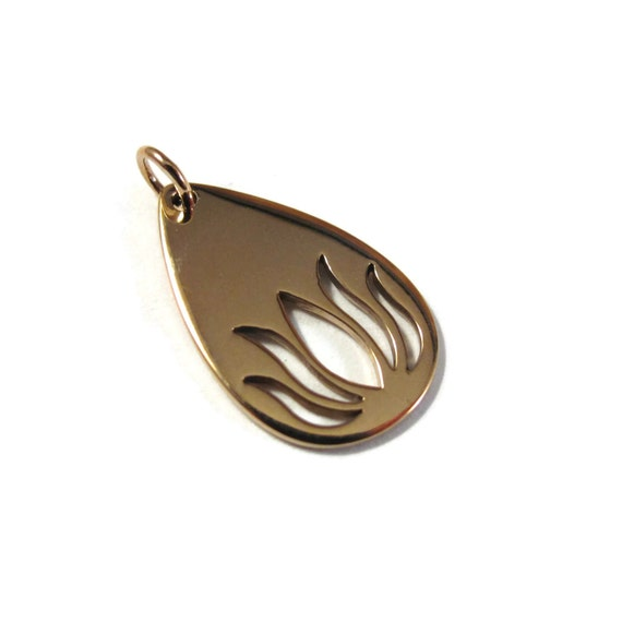 Gold Lotus Charm, Natural Bronze Teardrop with Lotus Cutout, Golden Bronze Flower Pendant, Charm Bracelet, Necklace, Jewelry (Ch 891b)