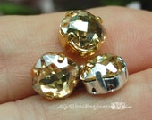 Golden Shadow 8mm Vintage Swarovski Antique Checkerboard 4461 Cushion Cut Jewelry Supply with Sew On Setting December Birthstone