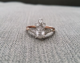 "Two Toned Pear White Sapphire Diamond Engagement Ring Vintage Antique Victorian 14K Rose Gold White Gold Set Stacking Teardrop ""The Lydia"""