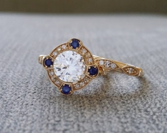 """BAND ONLY Victorian Diamond Wedding Band Vintage Antique Art Nouveau Art Deco Scalloped 14K Rose Gold match """"The Charlotte"""" and """"The Elsa"""""""
