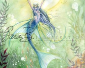 Mermaid Art Print Angel Fish - Ocean Princess Warrior