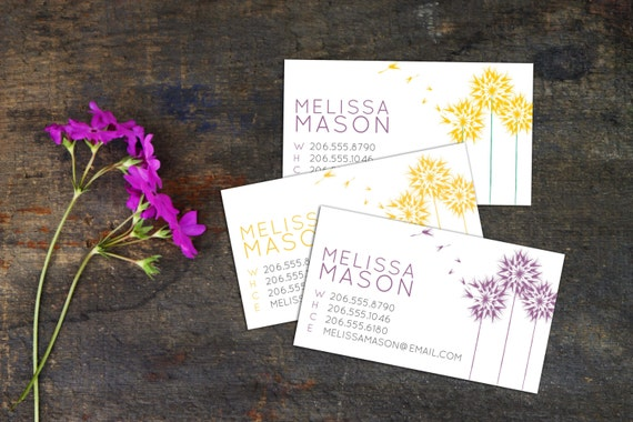 Floating Dandelion Calling Card, Business Cards, Set of 50 Cards, Set of 100 Cards, Whimsical Dandelion Contact Cards, Personal Cards