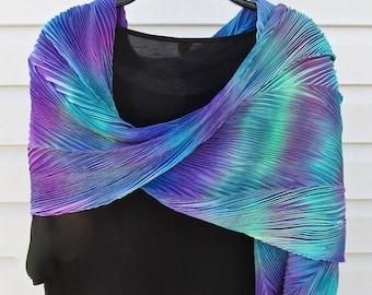 Aquarium Lights - Arashi Shibori Hand Dyed & Hand Pleated Silk Shawl/Scarf