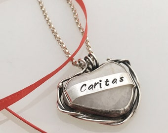 Sterling Silver Caritas Heart Necklace Inspirational Love Charity