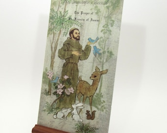 Vintage Greeting Card - Prayer of St Francis of Assisi - Saint Francis - Religious - Christianity - framable - animal lover