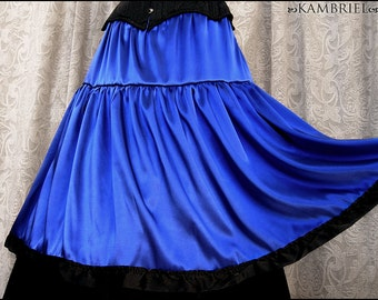 One of a Kind Sapphire Blue Satin Charmeuse Tiered Midi Skirt trimmed w/ Vintage Black Satin Ribbon by Kambriel - Brand New & Ready to Ship!