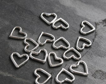 Little Sterling Silver Hearts Handmade Charms, Open Heart Symbol for Necklace or Pendant, Hand Made Size Tiny Heart Family Mom Mother Child