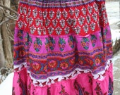 Vintage India cotton print hippie skirt tube top pink multicolor layered M, L, XL