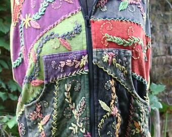 Hippie sleeveless hoodie Nepal Nepalese hoodie XL embroidered