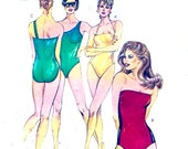 One piece Swimsuit Resort Beach Summer Vacation 80s vintage sewing pattern Kwik Sew 1430 Size 6 to 12 Uncut