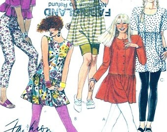 Baby doll tops Leggings tunic Casual wear Summer Athletic exercise tights vintage 90s sewing pattern McCalls 5369 UNCUT Size 10 to 12