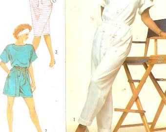 Spring Summer Jumpsuit in two lengths dress 80s Surf club Christie Brinkley Collection sewing pattern Simplicity 9111 UNCUT