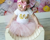 Baby Girl 1st Birthday Outfit, Pink Gold Birthday Tutu Outfit, Girls First Birthday Outfit - CUSTOM Choose Your Age 1-12