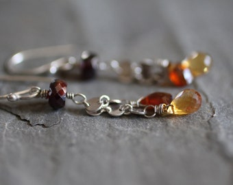 SALE: Fall Earrings. Chain and Gemstone Rustic Earrings. Red Garnet and Orange and Yellow Citrine Dangle Drops. Sterling Silver