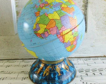 Vintage Ohio Art Tin Litho Globe With Zodiac Base Coin Bank