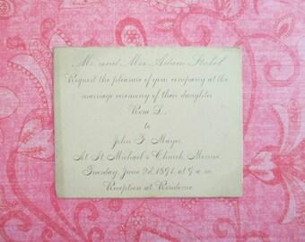 Vintage Victorian Wedding Invitation 1891 Monroe, Michigan