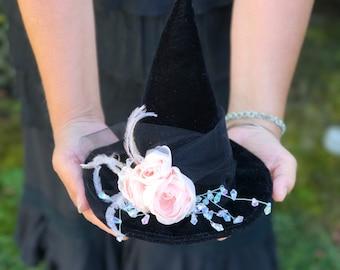 Elegant Black Velvet Mini Witch Hat, Top Hat, Halloween Fascinator