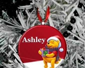 """Personalized Winnie the Pooh Holiday Image Christmas 2.25"""" Ornament"""