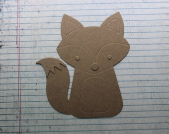 2 Bare chipboard wide Fox diecuts 4 3/4 inches w x 5 1/4 inches tall