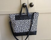 Black and white tile print canvas and leather tote