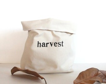 Harvest Hand Printed Canvas Storage Basket - Harvest Storage - Organization - Kitchen Organization - Fall Decor
