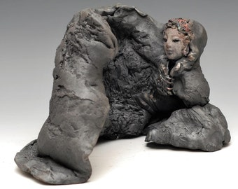 Small Buddha Seated in Meditation in the Cave Sculpture in Raku Figurative Ceramics