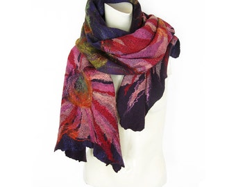 Felted Shawl Scarf Merino Wool Silk Cotton Gauze Mohair Cobweb Nuno Floral Pink Red Flowers on Purple Background with Green leaves