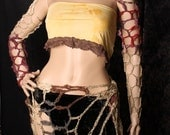 Fishnet Arm Warmers. Crochet long Sleeves, Multicolor Apocalypse Shrug, Tribal Belly Dance, Gothic Summer Fashion, Wasteland Sleeves Mad Max