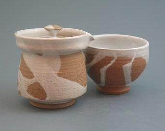Shiboridashi Teapot Set (175ml.),  iron-rich stoneware w/ satin white glaze